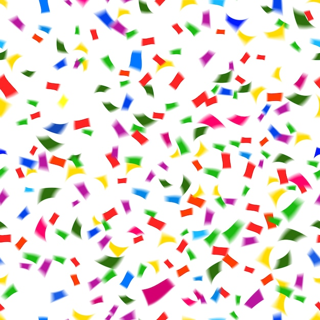 Vibrant seamless vector pattern of falling paper confetti in the colors of the rainbow or spectrum in a festive  party  or holiday concept such as new year  christmas  wedding or birthday Free Vector