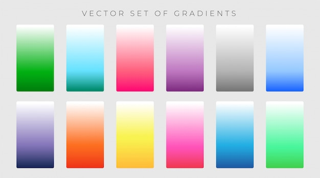 Vibrant set of colorful gradients vector illustration Free Vector