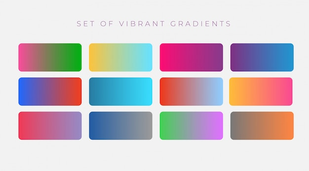Vibrant set of colorful gradients Free Vector