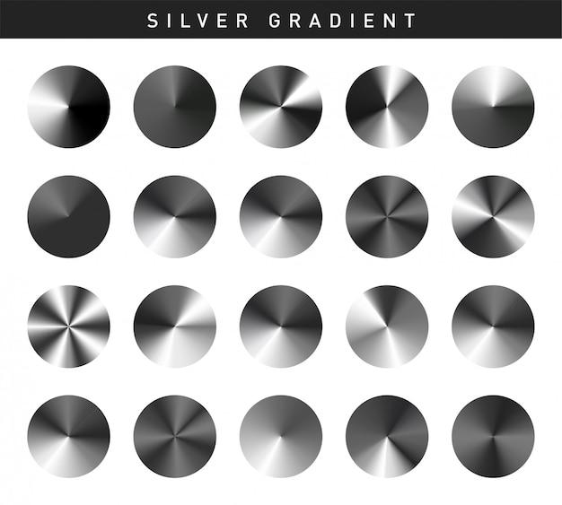 Vibrant silver gradients swatches set free Premium Vector