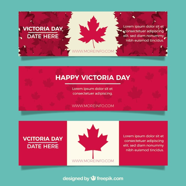 Victoria day banner with canadian flag design Free Vector