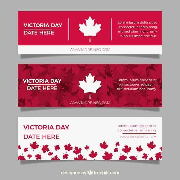 Victoria day banner with red and white leaves Free Vector