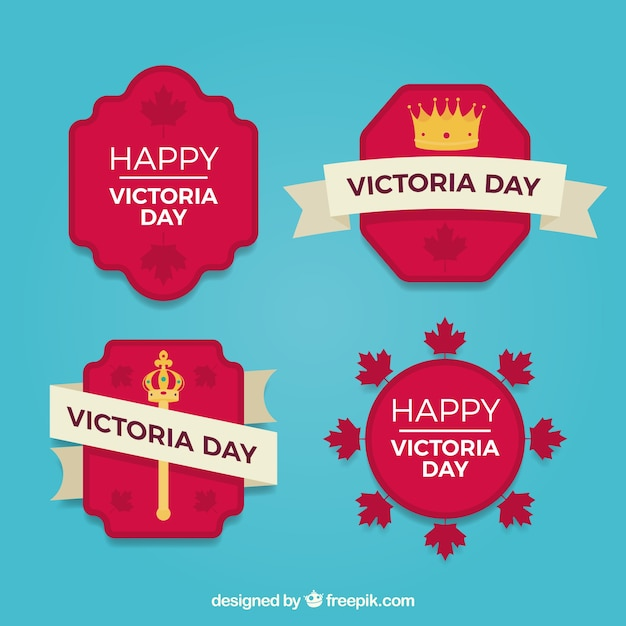 Victoria day lable collection with crown and scepter Free Vector