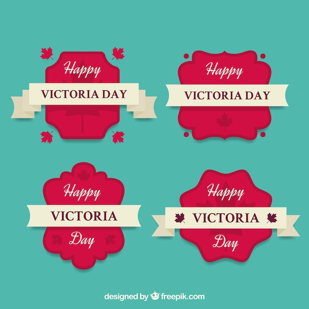 Victoria day lable collection with ribbons Free Vector