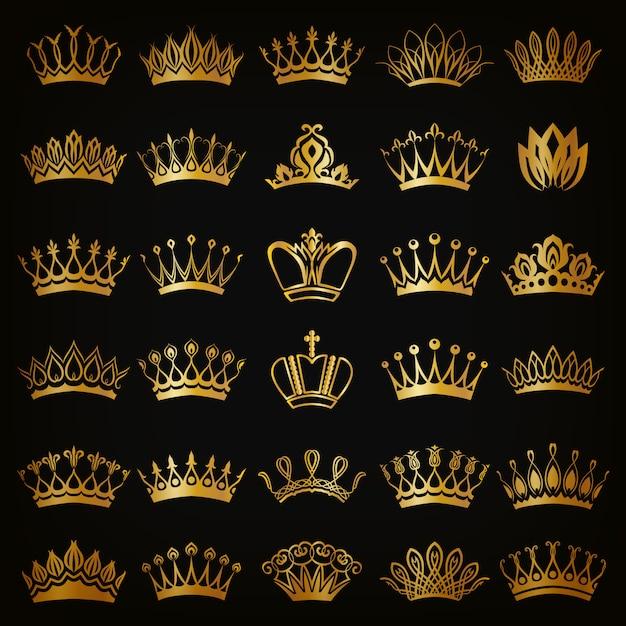 Victorian crowns Premium Vector