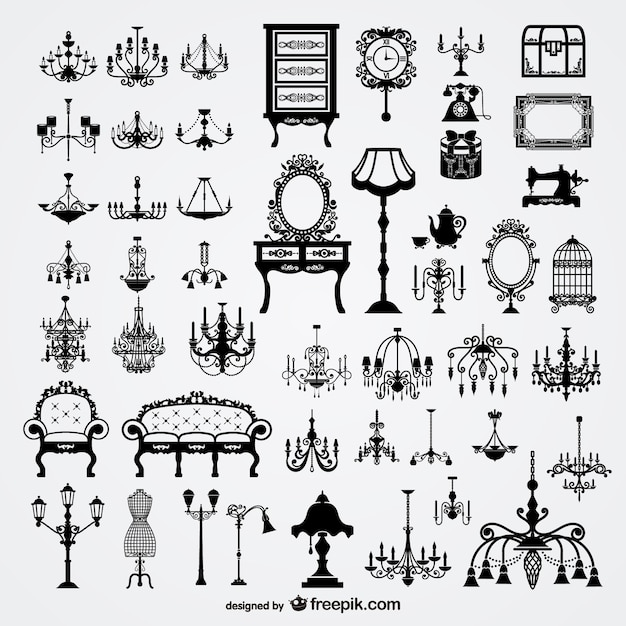 Victorian furniture elements Free Vector