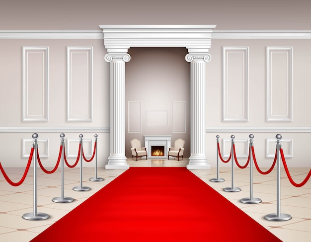 Victorian style hall with red carpet silvery barriers armchairs and fireplace Free Vector
