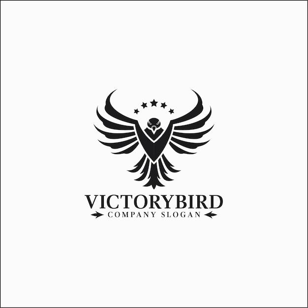 Victory bird - eagle logo template Premium Vector
