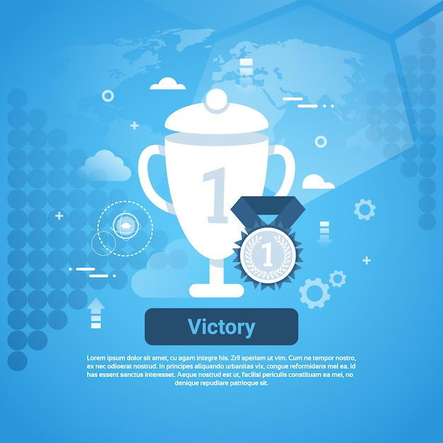 Victory concept business web banner with copy space Premium Vector