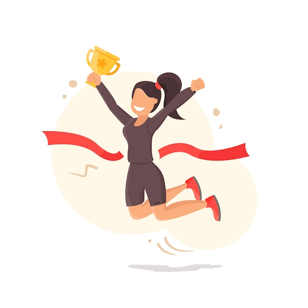 Victory. the girl rejoices in the victory and holds the cup Premium Vector