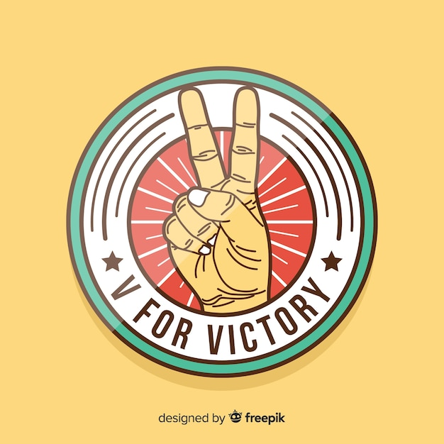 Victory hand peace sign background Free Vector