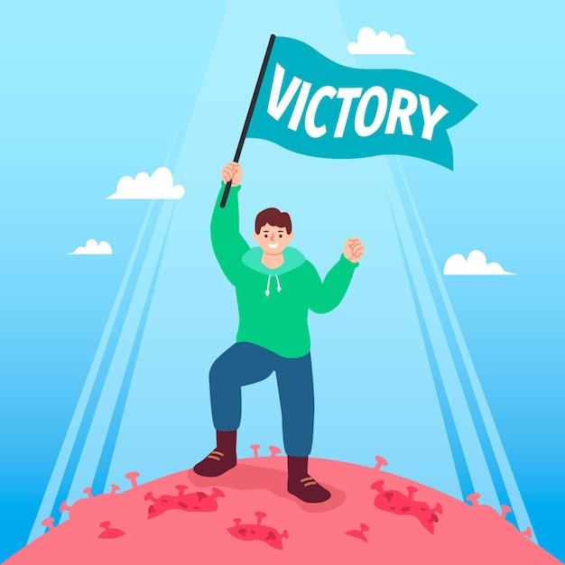 コロナウイルスの概念に対する勝利 無料ベクター