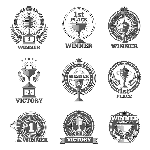 Victory trophies and awards vector logos, badges, emblems. win cup sport, champion stamp, vector illustration Free Vector