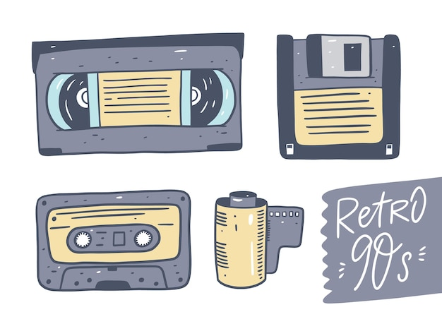 Видео- и аудиокассеты, дискеты, фотопленка. набор ретро технологии. изолированный. Premium векторы