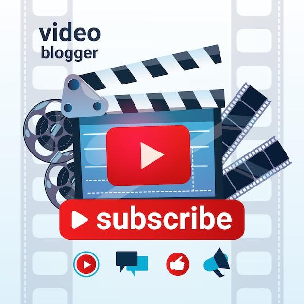 Video blog camera online stream blogging subscribe concept Premium Vector