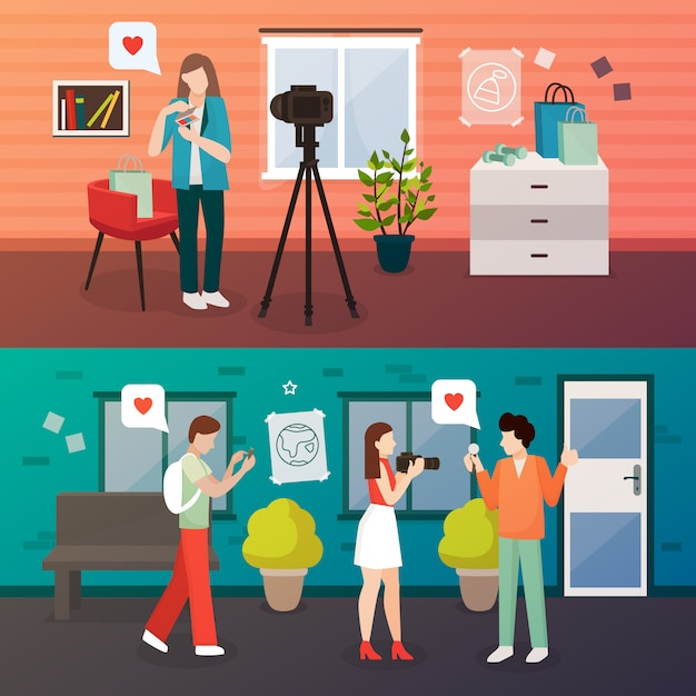 Video blog shooting compositions Free Vector