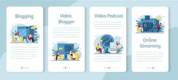 Video blogger, blogging and podcasting mobile application banner Premium Vector
