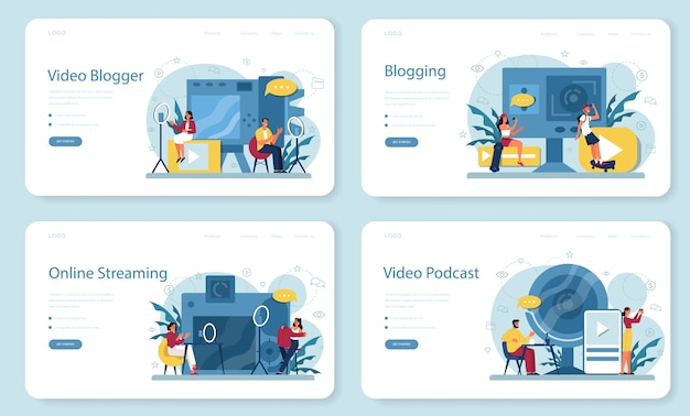 Video blogger, blogging and podcasting web banner or landing page set. share content in the internet. idea of social media and network. online communication. Premium Vector