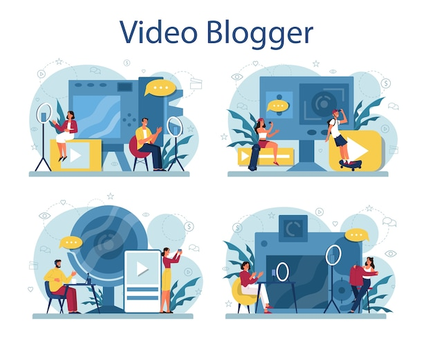 Video blogger concept . share content in the internet. idea of social media and network. online communication. Premium Vector