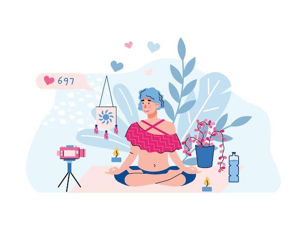 Видео-блоггер или персонаж-влоггер женщина делает поток практики йоги, плоскую иллюстрацию, изолированную на белом фоне. vlogger перед камерой показывает позу йоги. Premium векторы