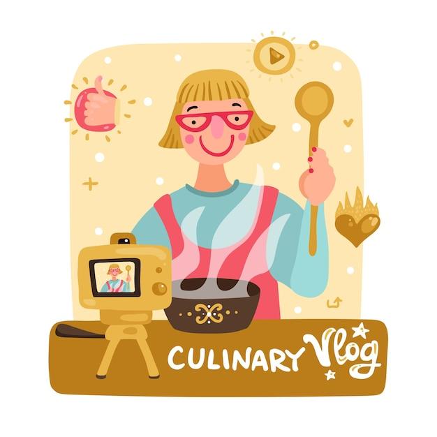 ビデオブロガーの女性の料理 無料ベクター