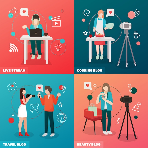 Video blogging concept Free Vector