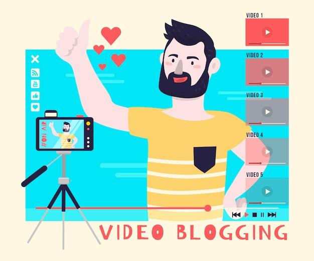 ビデオブログイラストコンセプト 無料ベクター