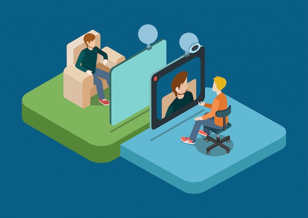 Video call chat conference concept isometric illustration. two men speaking over web camera. Free Vector