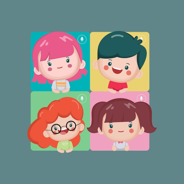 Video call conference people join in group concept. Free Vector