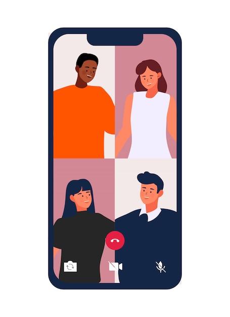 ビデオ通話-携帯電話のイラストを使用したビデオ会議で友達と待ち合わせ Premiumベクター
