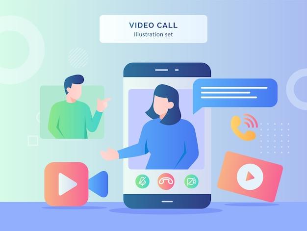 ビデオ通話イラストセット女性は男性カメラビデオ着信コールフラットスタイルデザインのディスプレイのスマートフォン画面の背景で話します Premiumベクター