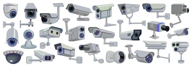 Video camera  cartoon set icon.  illustration control of surveillance on white background .  cartoon set icon video camera. Premium Vector