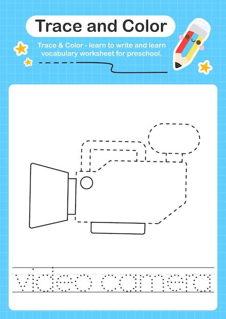 Premium Vector Video Camera Trace And Color Preschool Worksheet Trace For  Kids For Practicing Fine Motor Skills