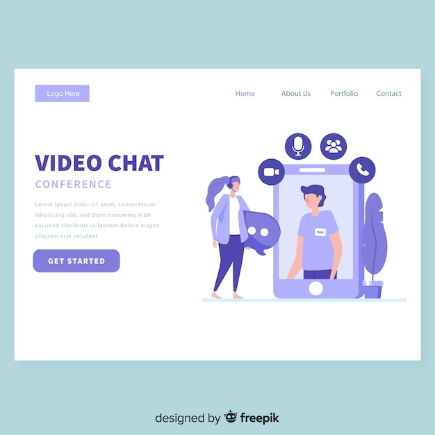 Video chat landing page template Free Vector