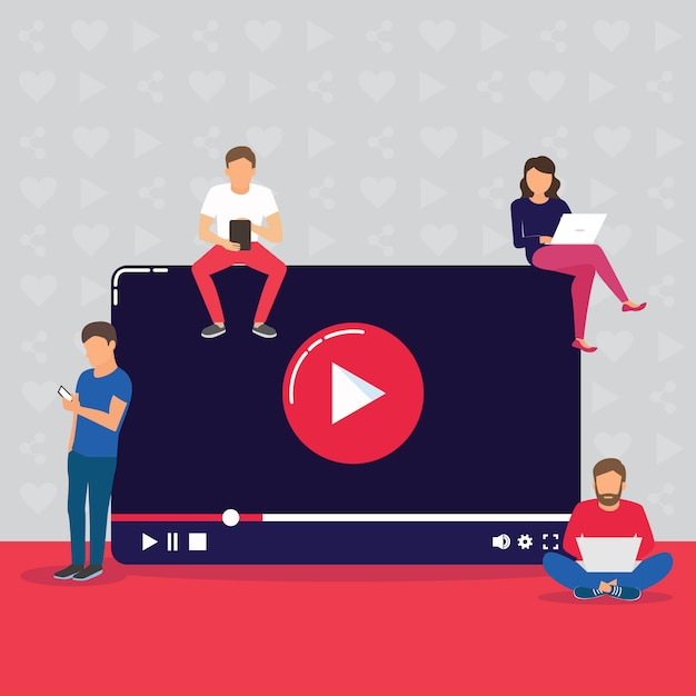 Video concept illustration of young people using mobile gadgets, tablet pc and smartphone for live watching a video via internet. Premium Vector