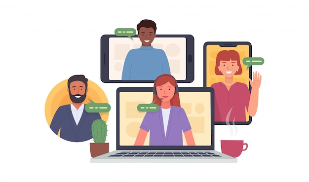 Video conference. colleagues taking part in video conference in home.  virtual work meeting. software for online communication. illustration Premium Vector