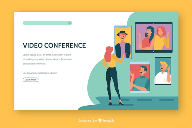 Video conference landing page flat design Free Vector