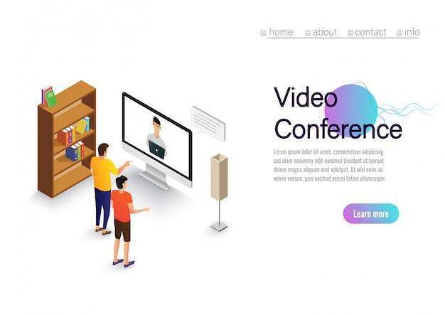 ビデオ会議の着陸。コンピューターの画面上の人々が同僚と撮影。ビデオ会議およびオンライン会議ワークスペースのベクターページ Premiumベクター