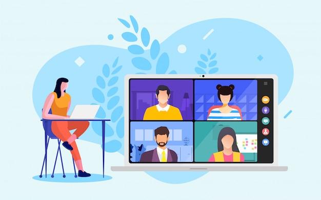 ビデオ会議 Premiumベクター