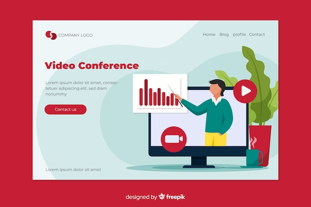 Video conferencing concept for landing page Premium Vector