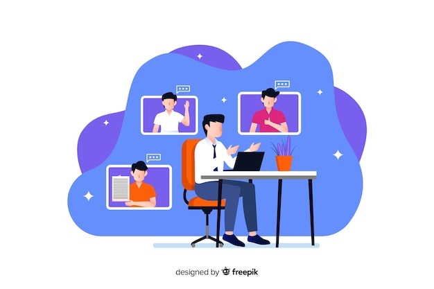 Video conferencing concept for landing page Free Vector