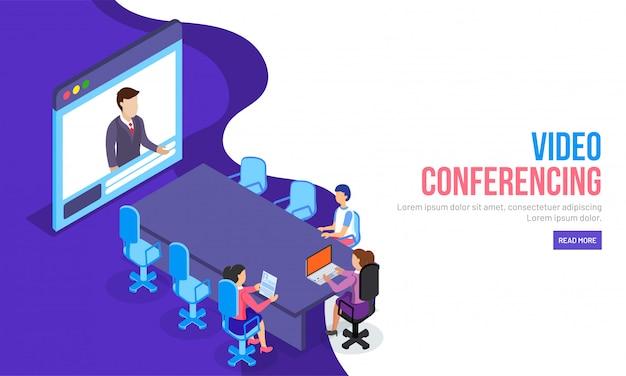 Video conferencing concept Premium Vector
