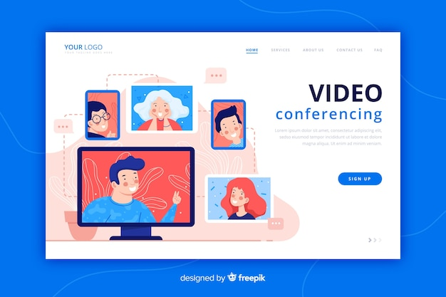 Video conferencing landing page flat style Free Vector