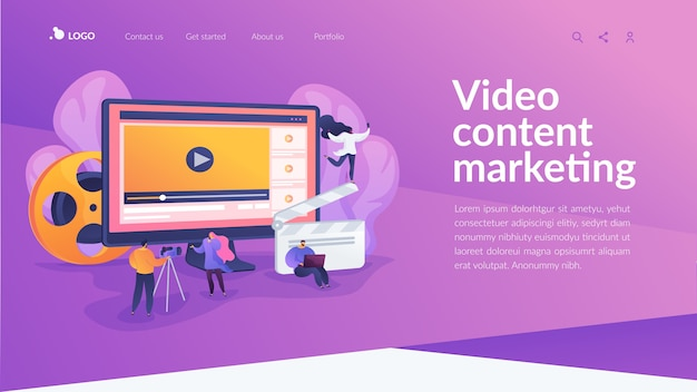Video content marketing landing page Free Vector