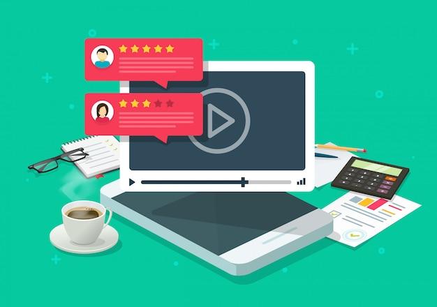 Отзывы о видео-контенте онлайн на рабочем месте мобильного телефона или отзывы и оценка репутации Premium векторы