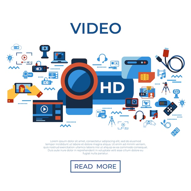 Video on demand online streaming technology icons collection Premium Vector