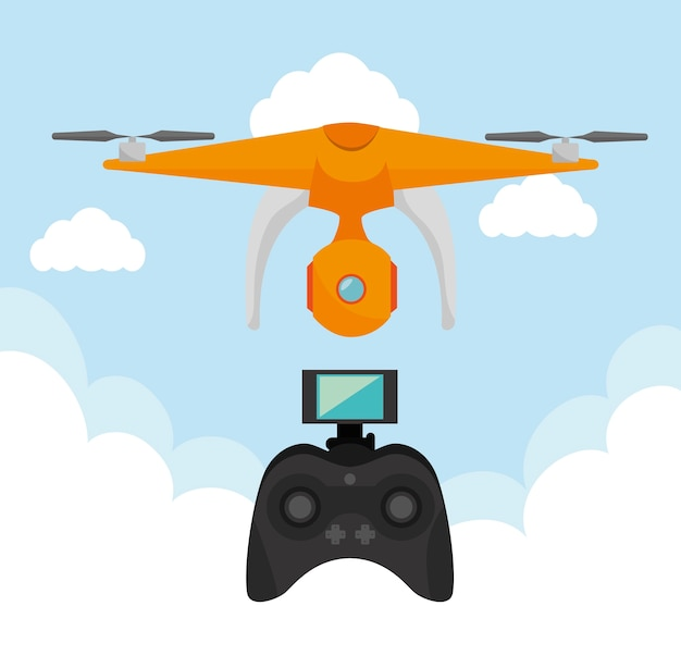 Video Drone Technology Isolated Icon Design Premium Vector