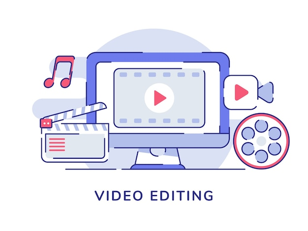 Video editing concept video icon on display computer screen with flat outline style Premium Vector