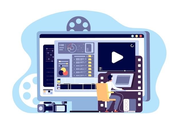 Video editor concept Premium Vector