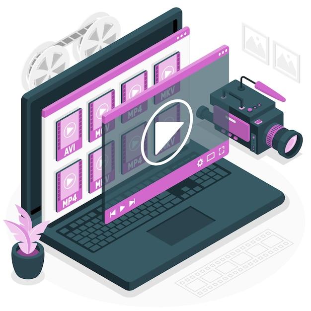 ビデオファイルの概念図 無料ベクター